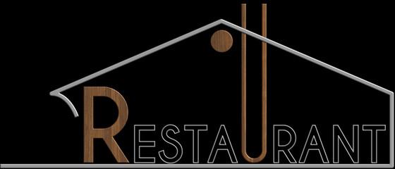 Restaurant con il simbolo edificio metallo e legno
