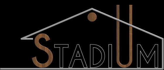 Stadium con il simbolo edificio metallo e legno
