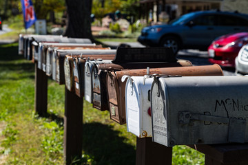Row of US Mailboxes