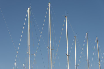 Low angle view of sailboat masts, Riverton, Hecla Grindstone Pro
