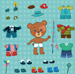 Fotobehang Doodle Cute bear boy with his cloth set. For dress up,paper doll games. (Vector illustration)