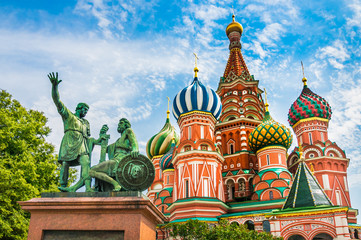 St. Basil's cathedral and monument to Minin and Pozharsky on Red Square in Moscow, Russia