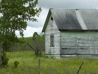 Old abandoned barn in a field, Komarno, Manitoba, Canada