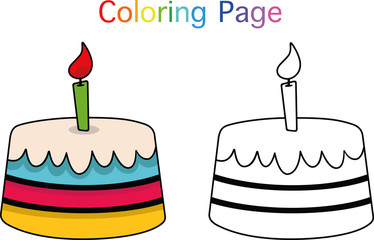 Birthday cake coloring page for children (Vector illustration)