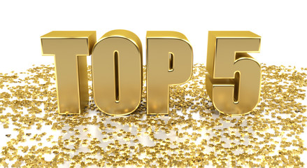 TOP 5 - with stars on white background - High quality 3D Render