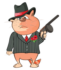 Illustration of a Cute Cat Gangster. Cartoon Character