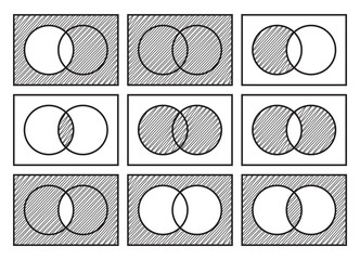 Sets theory basic operations, Venn diagrams, isolated on white background, vector illustration.