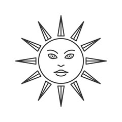 Esoteric sun icon suitable for info graphics, websites and print media and interfaces, mobile website. Linear trendy hand drawn style, line, vector icon. Geometric isolated flat design.