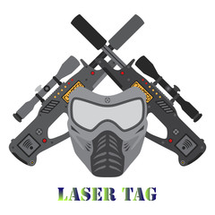 Set of laser tag game, helmet, guns in flat style.