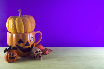 ghost cup and halloween decor