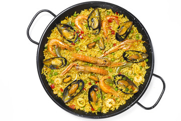 Spanish paella on white background