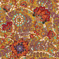 Bright seamless pattern in paisley style. Colorful floral background
