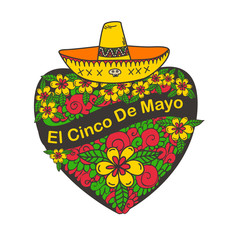 Cinco De Mayo poster with hand drawn heart flowers and sombrero.