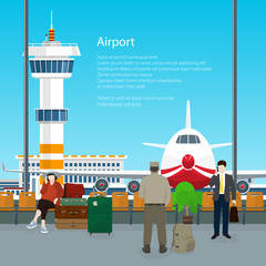 Waiting Room with People in Airport and Text , View on Airplane and Control Tower through the Window from a Waiting Room , Travel Concept, Flat Design, Vector Illustration