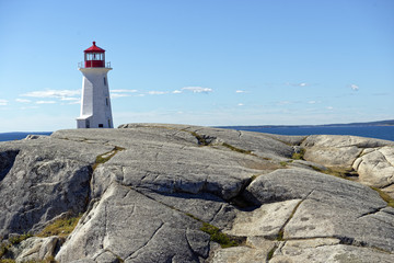 Iconic Peggy's Point Lighthouse in Peggy's Cove, Nova Scotia, Canada