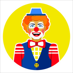Round emblem smiling funny clown with hat and colorful ribbons.