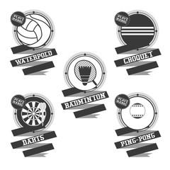 Sports Balls logo.  Croquet, badminton, darts, water polo, ping pong.
