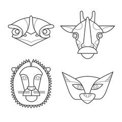 Black and white african masks animals. Ostrich, giraffe, lion, sand-dune cat.