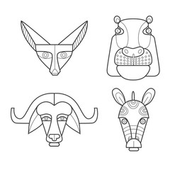 Black and white african masks animals. Fennec fox, hippopotamus, buffalo, zebra