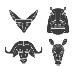 Black and white african masks animals. Fennec fox, hippopotamus, buffalo, zebra.