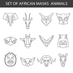 Set of african masks animals. Owl, leopard, elephant, gazelle, ostrich, giraffe, lion, sand-dune cat, fennec fox, hippopotamus, buffalo, zebra