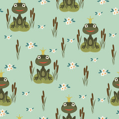 Seamless pattern with princess frog