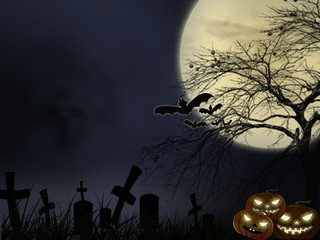 Halloween night background with devil pumpkin