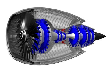 3D jet engine - side view