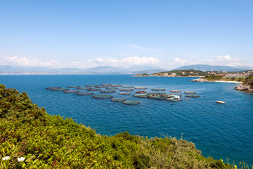 Fish farming near Kassiopi town. Corfu Island. Greece.