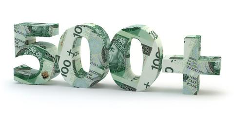 Obraz 500 plus - napis z banknotów - fototapety do salonu