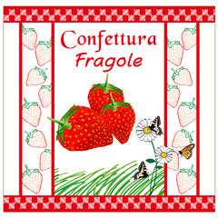 etichetta per marmellata fragole