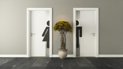 white restroom doors for male and female genders