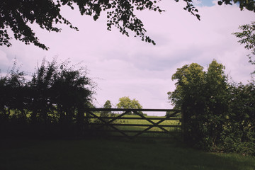 Gate at the entrance to a field Vintage Retro Filter.