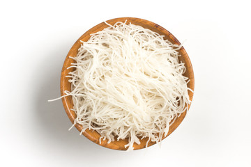 Chinese Noodles. Rice vermicelli Pasta into a bowl