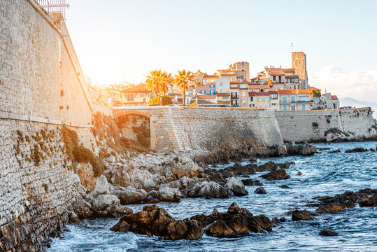 Landscape view on the old coastal village and fortification of Antibes on the french riviera in France