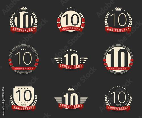 Ten years anniversary celebration logotype th anniversary logo