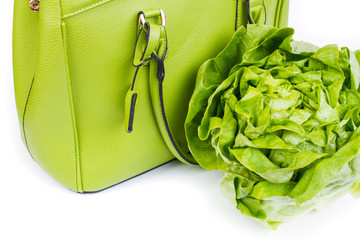 green bag with lettuce salad