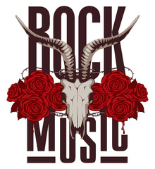 banner for rock music with goat skull and roses