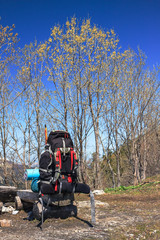 Backpack prepared for a hike in nature surroundings background