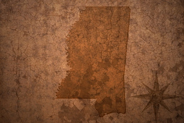 mississippi state map on a old vintage crack paper background