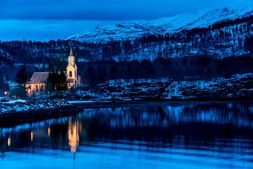 Orskog church in Soholt, Norway along Storfjorden