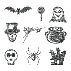 Set of sketches Halloween icons
