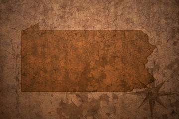 pennsylvania state map on a old vintage crack paper background