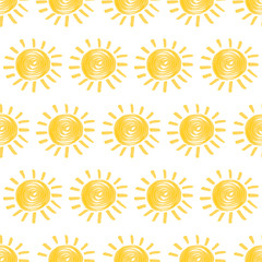 Seamless pattern with sun hand drawn by marker. Sunny repeating texture in yellow colors. Original background for prints, textile, wallpapers and wrapping design. Vector eps10 illustration.