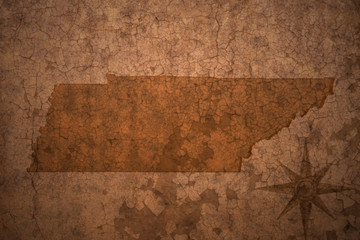 tennessee state map on a old vintage crack paper background