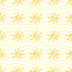 Seamless pattern with sun hand drawn by marker. Sunshine repeating texture in yellow colors. Original background for prints, textile, wallpapers and wrapping design. Vector eps10 illustration.