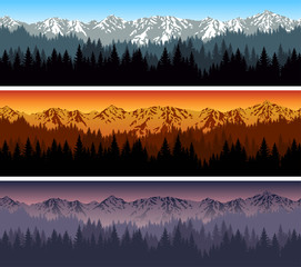 set of vector mountains forest background texture seamless pattern