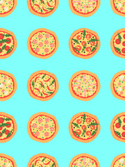 Seamless pattern with different pizza including margherita, pepperoni, shrimp, onion, chili pepper, bacon, tomatoes. Vector background. Cartoon stylized