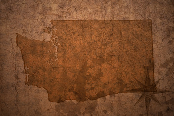 washington state map on a old vintage crack paper background