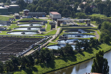 Aerial view of storage tanks in sewage water treatment plant